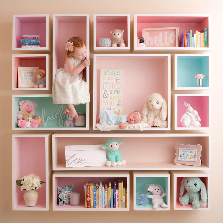 children in a shelf